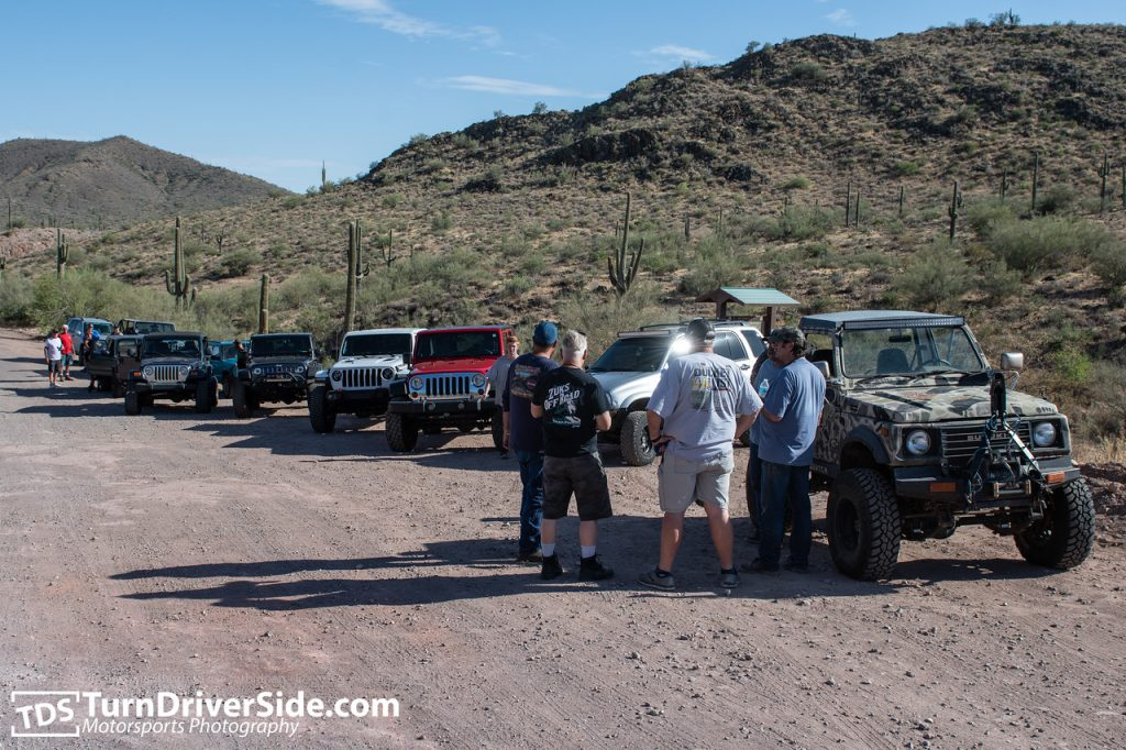 A group of Jeeps and Suzuki's ready to start the back road to Crown King