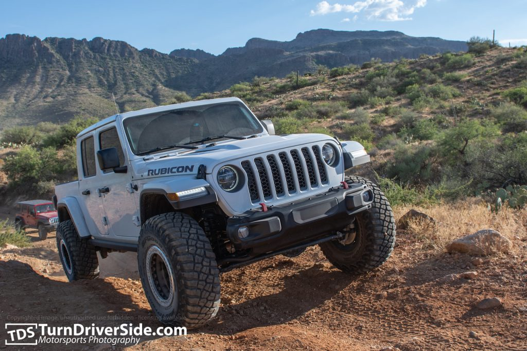 A brand new Jeep Gladiator on the back road to Crown King, AZ