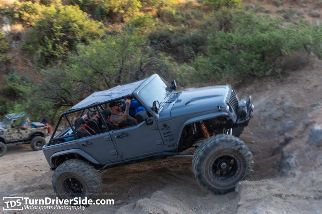 A heavily modified Jeep Wrangler on the back road to Crown King
