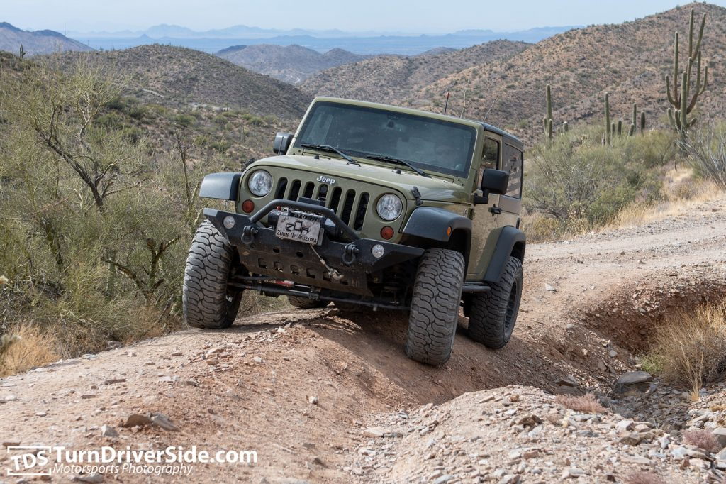Jeep JK navigating deep ruts just north of Ajax Mine.