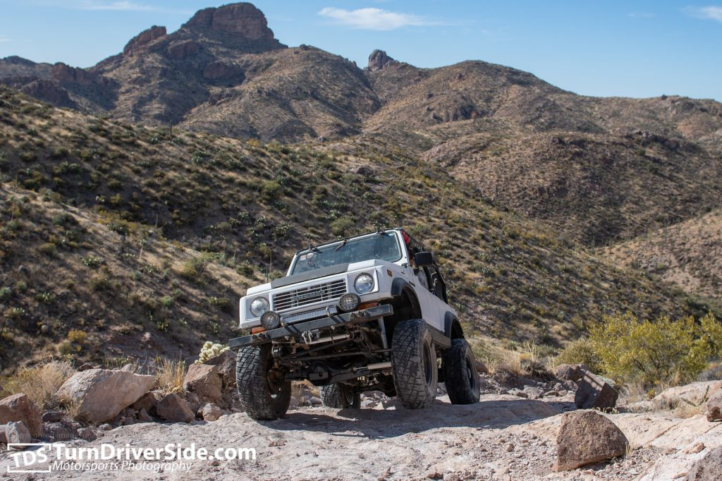 Gilbert in his Suzuki Samurai getting off camber on the Flat Tire Canyon Trail.