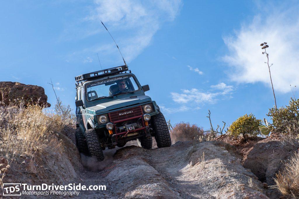 Brian driving his Suzuki Samurai down the toughest section of Flat Tire Canyon Trail in his Suzuki Samurai.