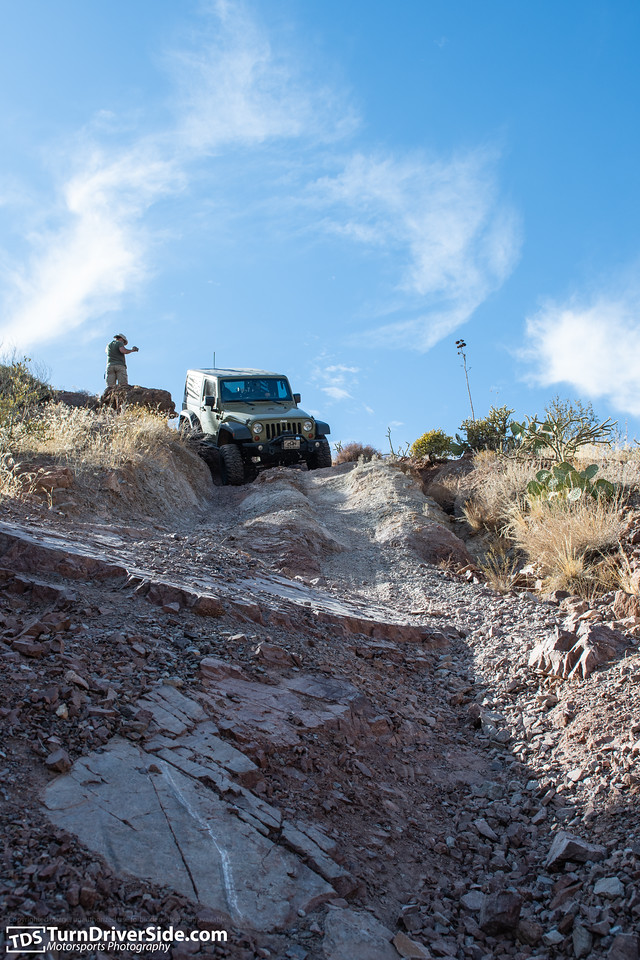 Bobby taking his Jeep JK down the toughest section of Flat Tire Canyon.