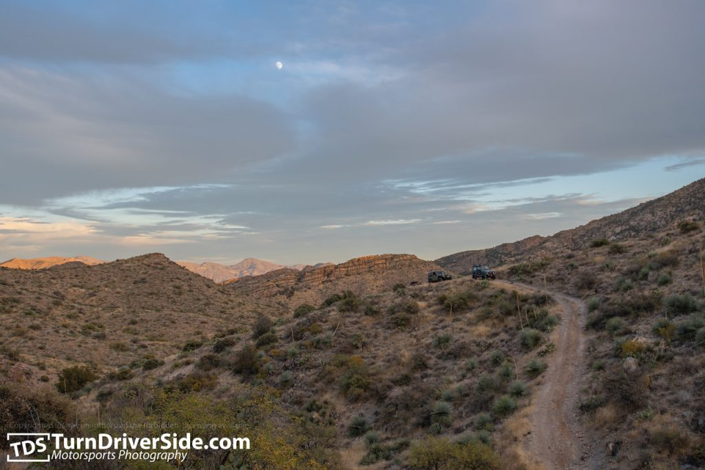 Moon rising over the last challenging obstacle of Flat Tire Canyon Trail.