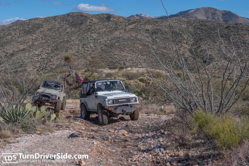 Rob in his Suzuki Samurai on the Pucker Ridge Trail