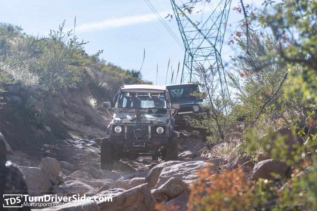 Suzuki Samurai driving on Hackberry Creek Trail