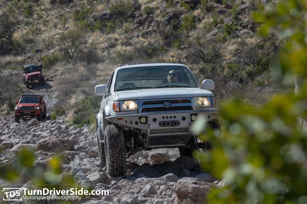 White Toyota 4Runner on Hackberry Creek Trail