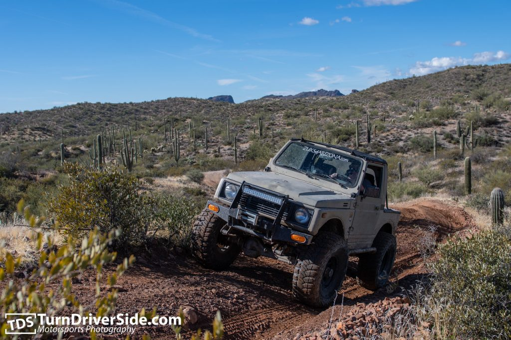 Daniel in his Suzuki Samurai showing the typical conditions of the Pucker Ridge Trail