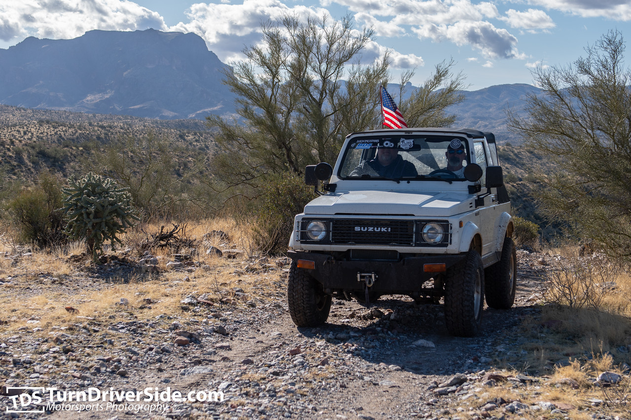 Rob in his Suzuki Samurai with Picketpost Mountain in the distance.